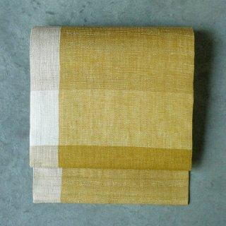 maki textile studio(インド手織り布)名古屋帯 黄色大格子