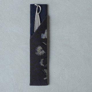 「Eddy An Batik 」×月日荘  手描きジャワ更紗  楊枝入れ 墨[笹形楊枝付き]