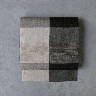 maki textile studio(インド手織り布)名古屋帯 仕立て上がり モノトーン