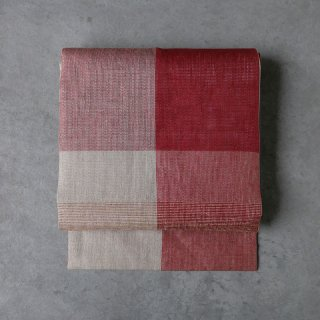 maki textile studio(インド手織り布)名古屋帯 仕立て上がり 赤大格子