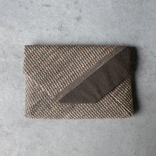 maki textile studio(インド手織り布)数奇屋袋 綿×タッサーシルク  チャコール