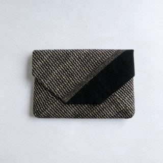 maki textile studio(インド手織り布)数奇屋袋 綿×タッサーシルク  黒