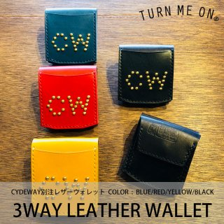 3WAY LEATHER WALLET  CW STUDS/TURN ME ON<img class='new_mark_img2' src='https://img.shop-pro.jp/img/new/icons8.gif' style='border:none;display:inline;margin:0px;padding:0px;width:auto;' />