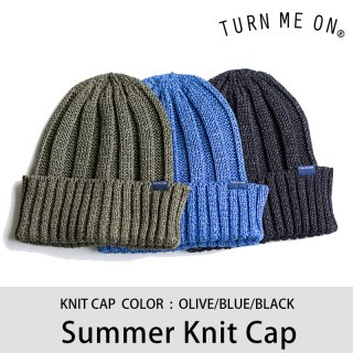 【40%OFF】SUMMER KNIT CAP オリーブ ブルー ブラック/TURN ME ON ターンミーオン <img class='new_mark_img2' src='https://img.shop-pro.jp/img/new/icons20.gif' style='border:none;display:inline;margin:0px;padding:0px;width:auto;' />