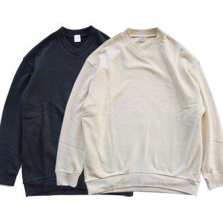 Loose V-neck Sweat(ルーズVネックスウェット) エクリュ ブラック/edit clothing エディットクロージング