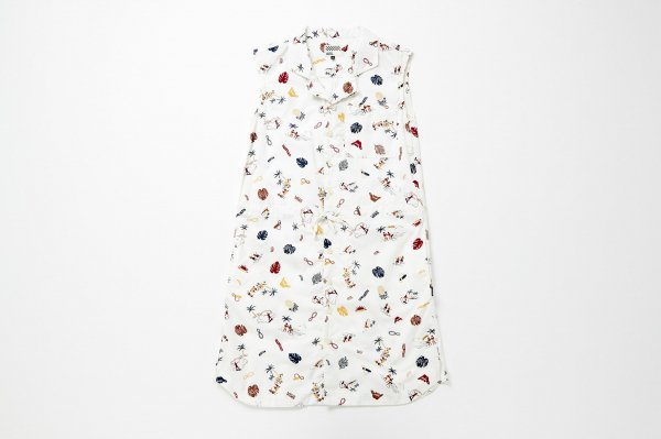 ALOHA Over Dye Open Collar Dress
