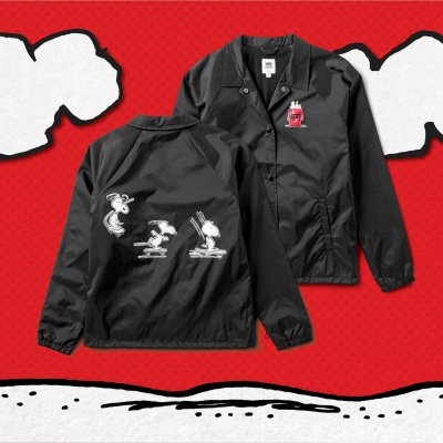 SNOOPY SKATES COACHES JACKET BLACK