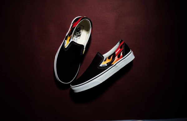 CLASSIC SLIP-ON (FLAME) BLACK/BLACK/