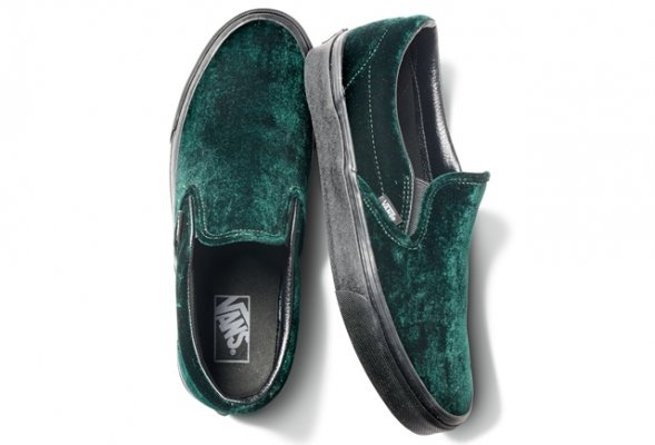 CLASSIC SLIP-ON(VELVET) GREEN/BLACK