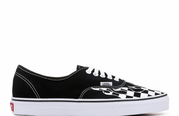 UA AUTHENTIC (CHECKER FLAME) BLACK/T