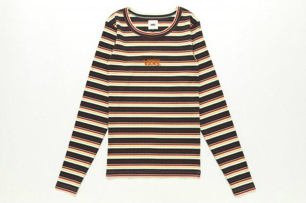 Rib Multi-Border Girls L/S T-Shirt