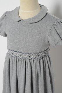 イタリアMalvi半袖ハートシェイプらくちんジャージーワンピースグレー×紺刺繍