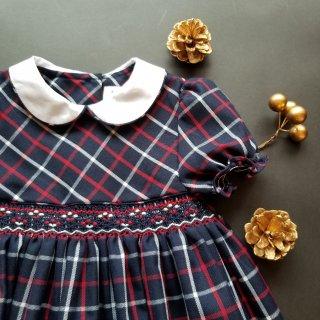 イタリアISIネイビータータン半袖スモッキングワンピース小花刺繍