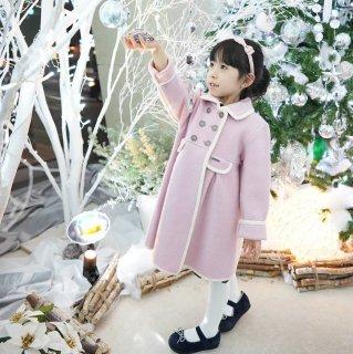 【10月下旬納品分】スペインMarae♪ピンク×ホワイトパイピングコート♪メリノウール100%