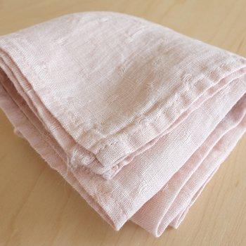 ハンカチ/麻/リーノ・エ・リーナ/リトアニアリネン/lino e lina 【ぺパン】ピンク