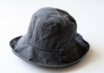 帽子 リネン(麻) リトアニアリネン マノンビス チャコールブルー