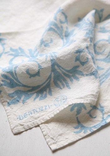 キッチンクロス リネン(麻) イタリア製 ベルトッツイ アカンサス ブルー 46 x 46 cm