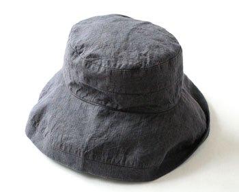 帽子 リネン(麻) リトアニアリネン マノン チャコールグレイ