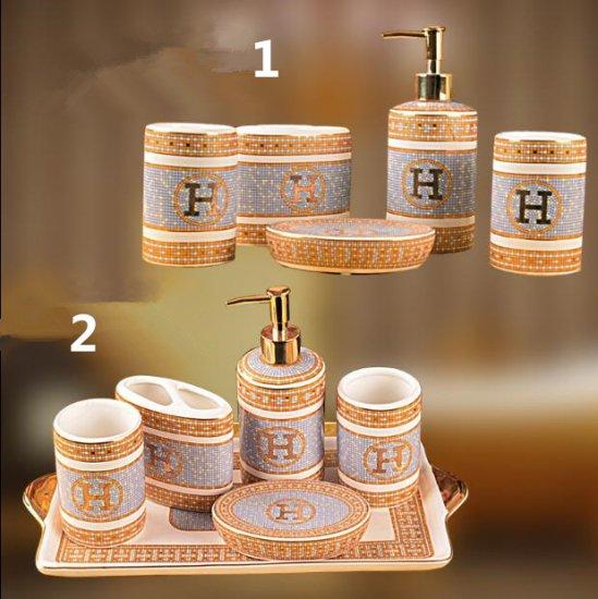 エルメス  シャンプーケース 歯ブラシ立て 石鹸置き ソープケース コップ お風呂/バスグッズ5点セット HERMES 高級感 送料…