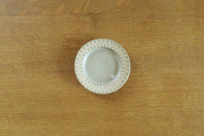 リム豆皿(3.5寸)/しのぎグレー ヤマシタマユ美