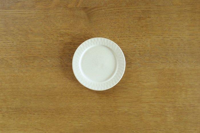 リム豆皿(3.5寸)/しのぎクリームホワイト ヤマシタマユ美