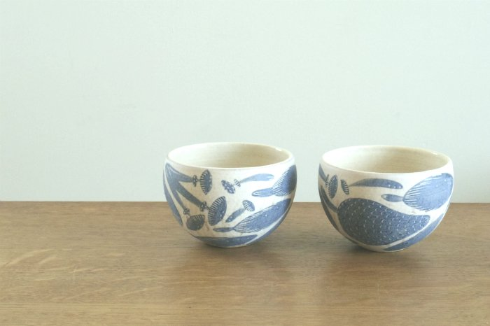 フリーカップ(丸)/キノコ柄粉引 ヤマシタマユ美