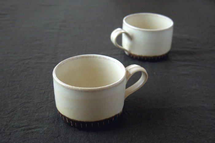 掛け分けマグカップ/チタン白×茶 後藤奈々