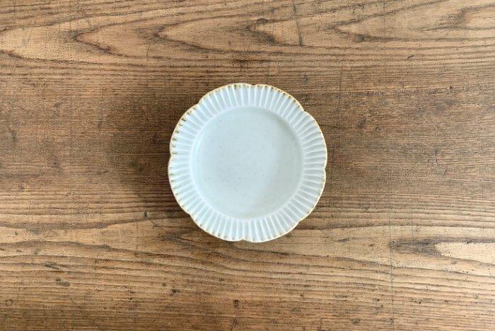 しのぎ輪花リム皿(4寸)/灰釉 水谷和音