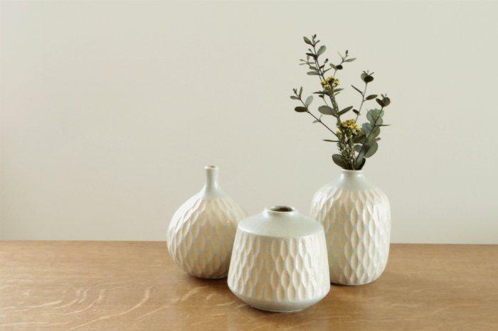 花器(S)/しのぎライトペパーミント  ヤマシタマユ美