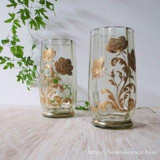 芥子の花踊る金彩のボヘミアングラス/Vintage Bohemian Glass with Gold Gilt Poppy
