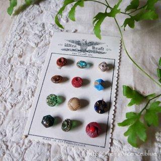 とりどりの意匠を愉しむチェコグラスのヴィンテージ・ボタンセット B/ Vintage Glass Button from Czechoslovakia