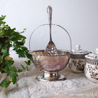 中空にスプーンの指定席をもつオーバルボウル / Antique Silver Plated Jelly Bowl with Carrier & Spoon