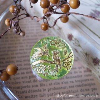 楽園の鳥をガラスに閉じ込めて / Vintage Glass Button
