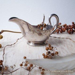 老舗の技が光る銀色の船 / Antique Silver Plated  Source Boat by Elkington & Co