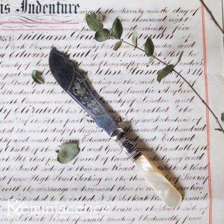 銀の刃と真珠の柄 / Antique Silver Plated  Butter Knife