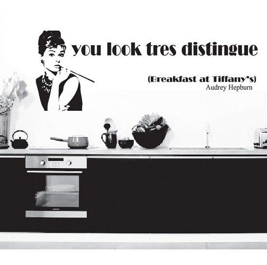 ウォールステッカー オードリーヘプバーン 壁シール 北欧 映画 女優 モノトーン 有名人 ティファニーで朝食を 剥がしやすい デコステッ…