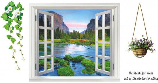 ウォールステッカー 窓 山と河川の風景 鉢植えと花 壁シール 癒される 景色 綺麗な 緑 ブルー 自然 開放感 はがしやすい 壁ステッ…