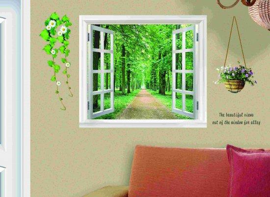ウォールステッカー 窓 森林の風景  壁シール 鉢植えと花 緑の葉 癒される 景色 森林浴 開放感 はがせる ウォールシ…