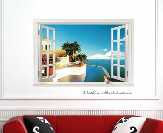 ウォールステッカー 窓 地中海の海辺 壁シール 青空の風景 景色 青 ブルー 窓枠 開放感 剥がせる インテリアシ…