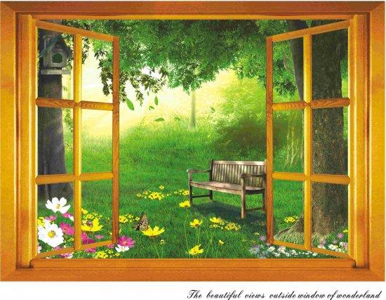 ウォールステッカー 窓 ビューティフルガーデン 壁シール 花と緑の風景 ベンチと美しい庭 癒される インテリアシ…