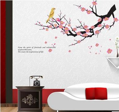 ウォールステッカー 桃の花とうぐいす 壁シール 和風 ピンク 黄色い鳥 鶯 英文字 おしゃれな 和室 座敷に 貼りなおせる  壁すてっ…