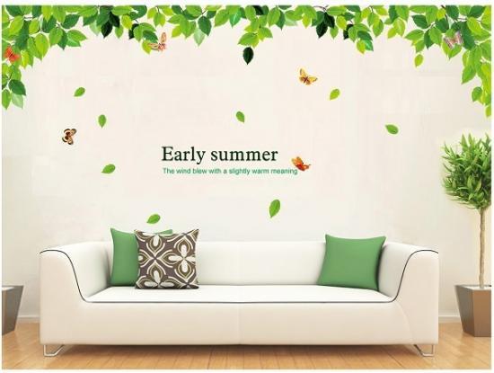 ウォールステッカー グリーンリーフ 初夏 壁シール 綺麗な 蝶々 自然 英文字 ナチュラル 緑葉 欧風 early summer 貼り直せる 壁すてっかー 模様…