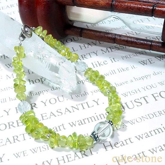 ペリドット 水晶 ミルキークォーツのブレスレットの写真2 cute stone