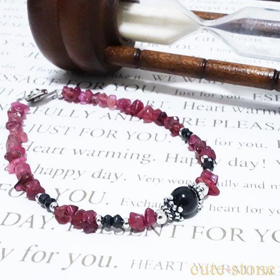 【cool beauty】テクタイト ブラックスピネル レッドスピネルを使ったブレスレットの写真2 cute stone
