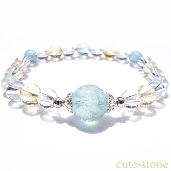 アクアマリン、シトリン、アイスクリスタルを使ったブレスレットの写真1 cute stone