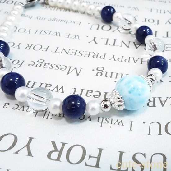 【Infinity∞Ocean】ラリマー 淡水真珠 ソーダライト アイスクリスタルを使ったブレスレットの写真4 cute stone