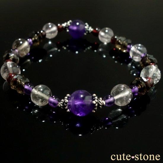 【優婉嫺雅】アメジスト エレスチャルクォーツ ガーネット スモーキークォーツを使ったブレスレットの写真5 cute stone