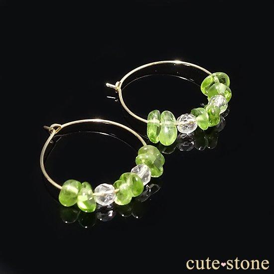 【Sun Pierce】ペリドット 水晶 K14GP フープピアスの写真4 cute stone