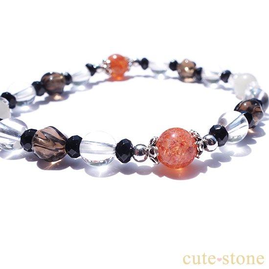 【太陽と月の旅】サンストーン グレームーンストーン ブラックスピネル スモーキークォーツ 水晶 ブレスレットの写真1 cute stone