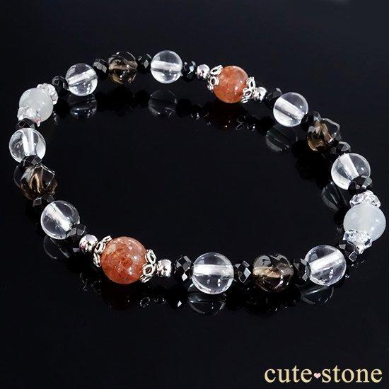 【太陽と月の旅】サンストーン グレームーンストーン ブラックスピネル スモーキークォーツ 水晶 ブレスレットの写真3 cute stone